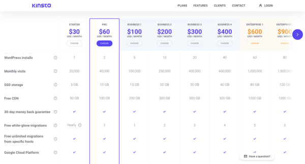Kinsta-hosting-pricing