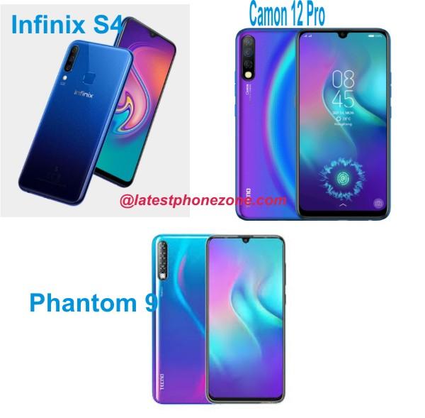 Tecno Camon 12 Pro vs Tecno Phantom 9 vs Infinix Hot S4: See the specs comparison, similarities, and price differences in Nigeria
