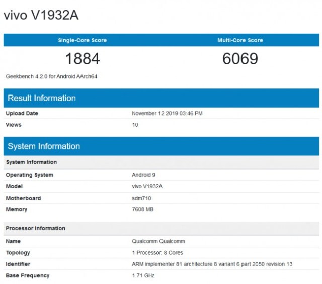Vivo S5 listed on GeekBench with 8GB RAM and Snapdragon 712
