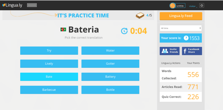 Figure 4. Word Practice in the Lingua.ly Web App
