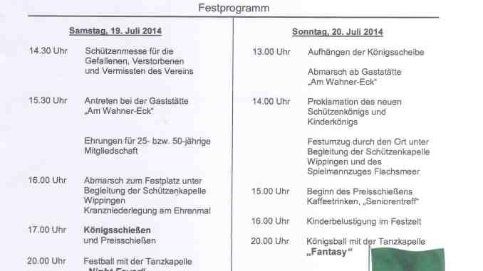 Einladung Schützenfest 2014
