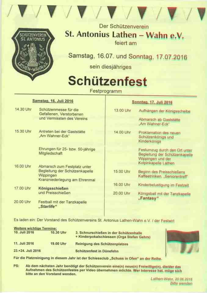 Festprogramm Schützenfest Lathen-Wahn