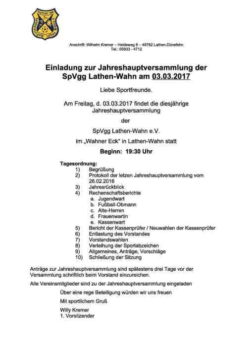Jahreshauptversammlung 2017 SpVgg Lathen-Wahn