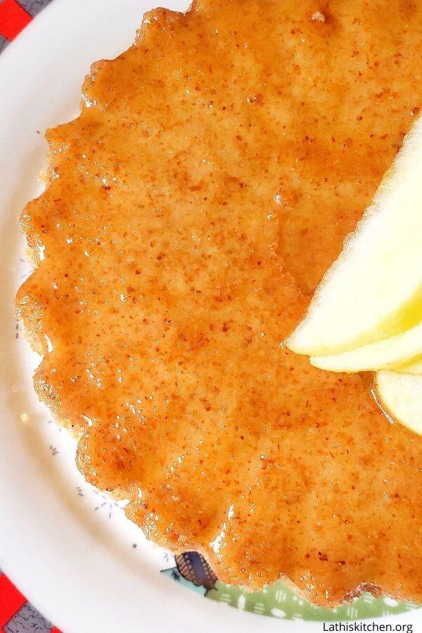 Caramel bread pudding.