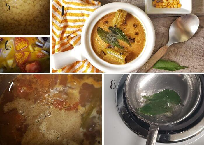 Step wise pictures to make kerala sambar with coconut.