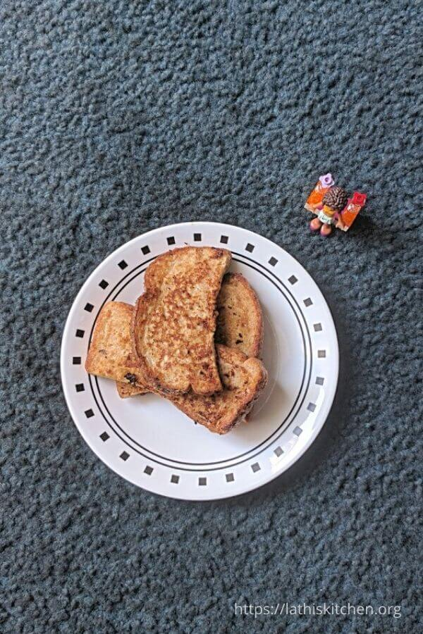A plate with french toast.