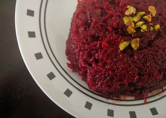 A plate of beetroot halwa.