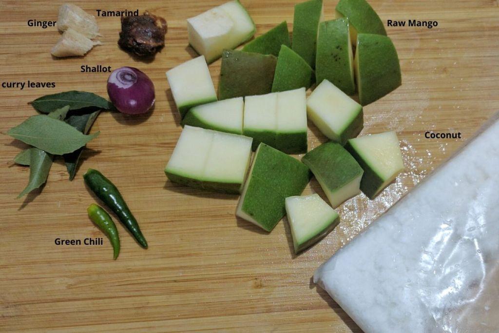 Ingredients to make raw mango chutney.