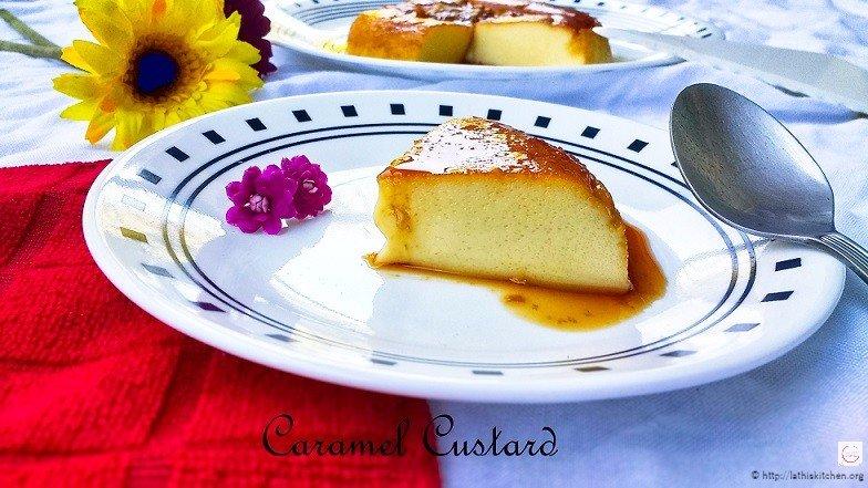Caramel Custard in a plate.