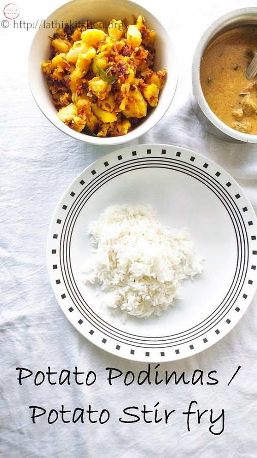Potato podimas,Indian,Potato stir fry, side dish,Vegetable,Vegetarian,Potato