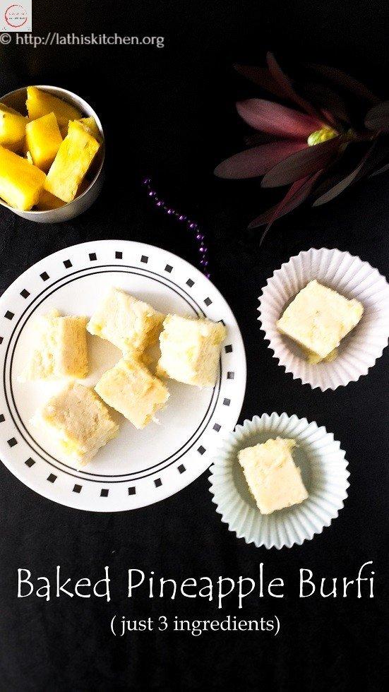 Pineapple Burfi,Baking,fruit,Dessert,Kids,Pineapple,Sweets