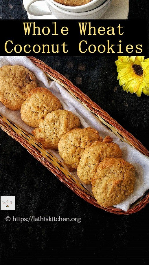 Whole Wheat Coconut Cookies, Coconut Cookies,Cookies,Baking,Kids,Snack,