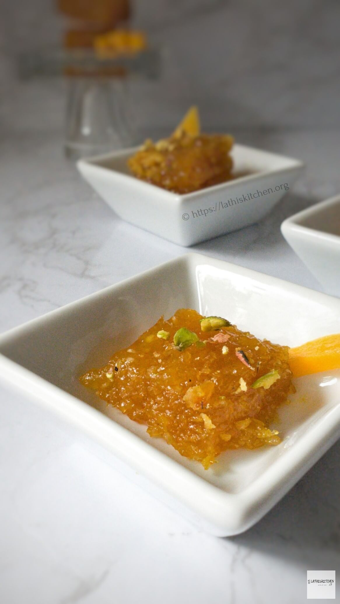 Bowls with Mango Coconut burfi.