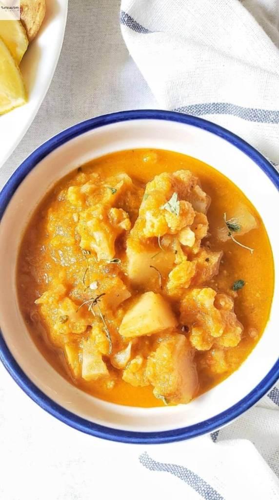A bowl of Aloo gobi.