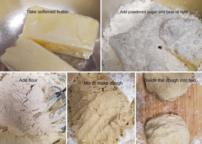 Step wise pictures to show how to make 3 ingredient shortbread cookies.