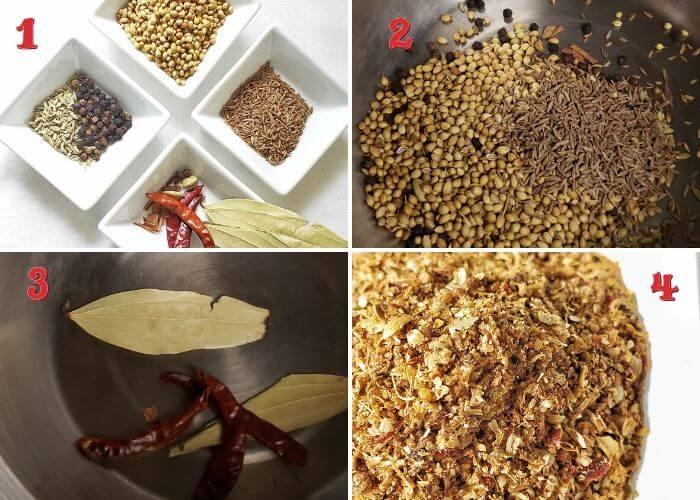 Stepwise instructions to make kadai masala.