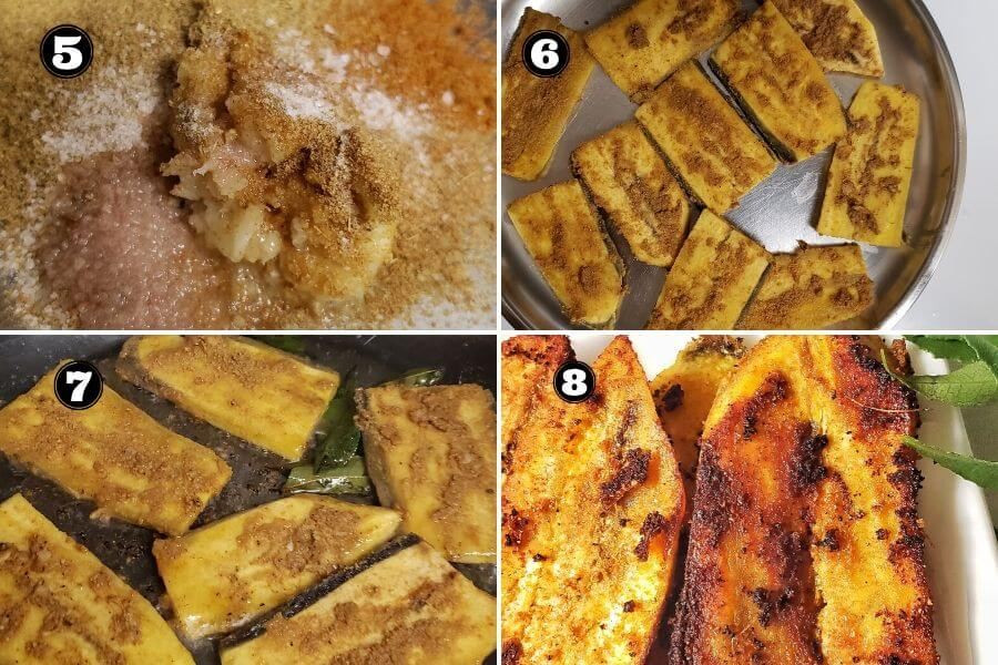 Step wise pictures to make vazhakai fry.