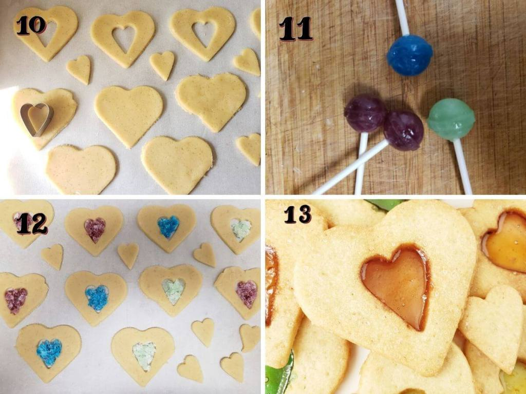 Step wise instructions to make stained glass cookies.