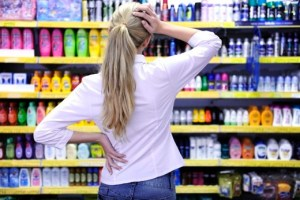 costumer shopping in the supermarket choosing a product