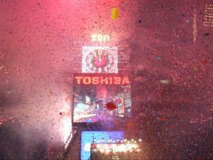 NYE Ball drop in Times Square explosion