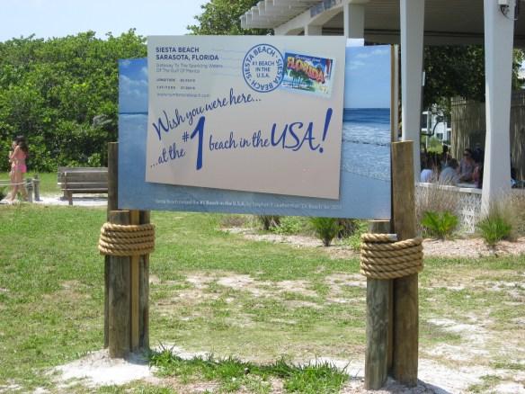Siesta beach FL, number 1 USA beach sign