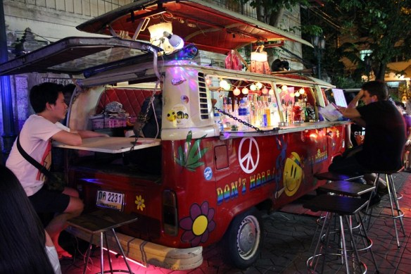 unique Bangkok sights, converted van bar