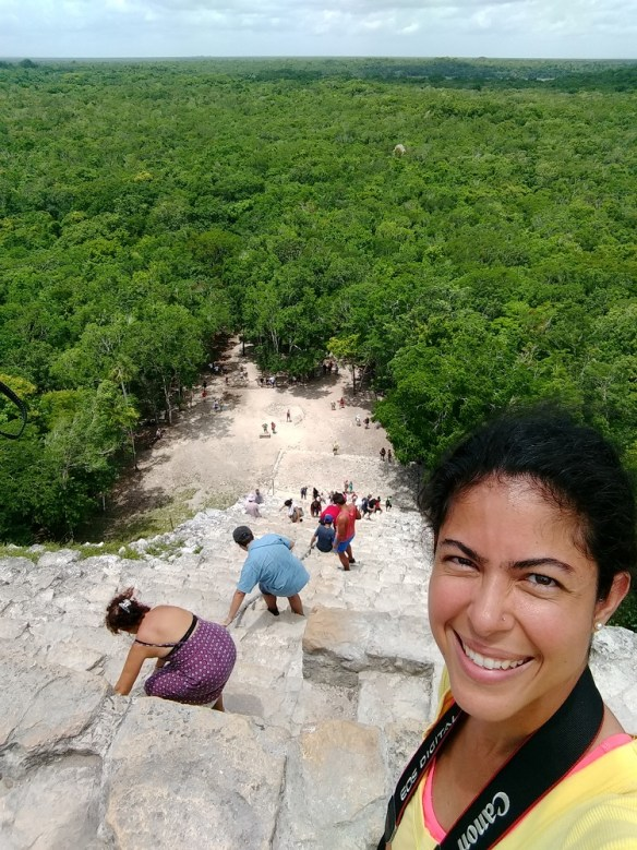 Top of Mayan pyramid in Coba, Mexico