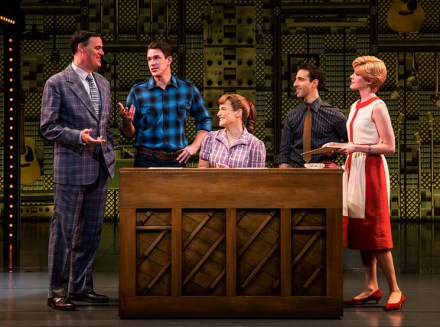 "Denver Center_Beautiful_Photos by Matthew Murphy Four Friends. (l to r) James Clow (""Don Kirshner""), Andrew Brewer (""Gerry Goffin""), Sarah Bockel (""Carole King""), Jacob Heimer (""Barry Mann"") and Sarah Goeke (""Cynthia Weil"")."