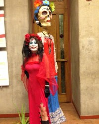 Juana Bordas ready for Dia de Los Muertos with a bigger than life Calavera