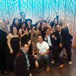 Members of the cast and creative team strike a goofy pose following the opening night of America Mariachi