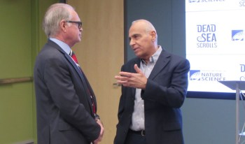 George Sparks (left) President & CEO of the Denver Museum of Nature & Science talks with Dr. Uzi Dahari, Deputy Director of the Israel Antiquiteies Authority at the opening media reception for the exhibit.