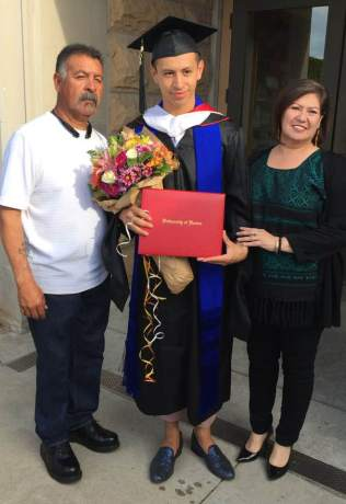 """Chepe"" with his father Jose and Mother Lynn Rosales"