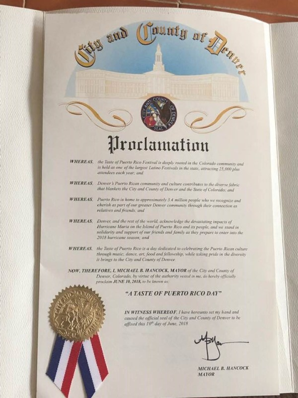 A taste of Puerto Rico Proclamation