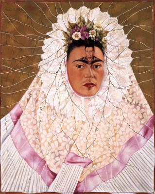 Frida Kahlo, Diego on my Mind, 1943. Oil on Masonite; 29.9 x 24 in. (76 x 61 cm). The Vergel Foundation and MondoMostre in collaboration with the Instituto Nacional de Bellas Artes y Literatura (INBAL). © 2020 Banco de México Diego Rivera Frida Kahlo Museums Trust, Mexico, D.F./Artists Rights Society (ARS), New York.Photo taken at DAM by Latin Life Denver Media