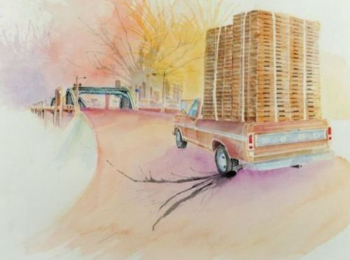 """Pallet Pickup on 6th Street Bridge,"" a 2013 watercolor and ink on paper by Wenceslao Quiroz. On view at Muzeo through July 14 as a part of ""Papel Chicano Dos,"" a exhibition of Cheech Marin's art collection.(Image courtesy of Muzeo)"