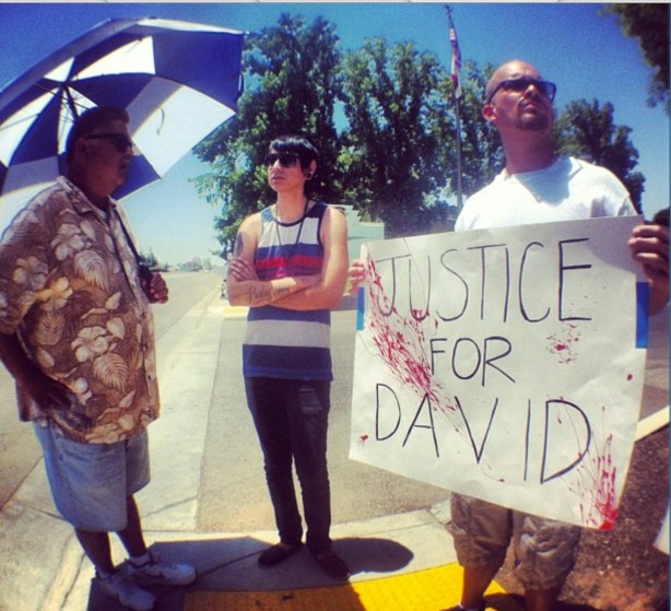 David Silva's brother at June 8 demonstration in Bakersfield. CREDIT: Nicholas Belardes.