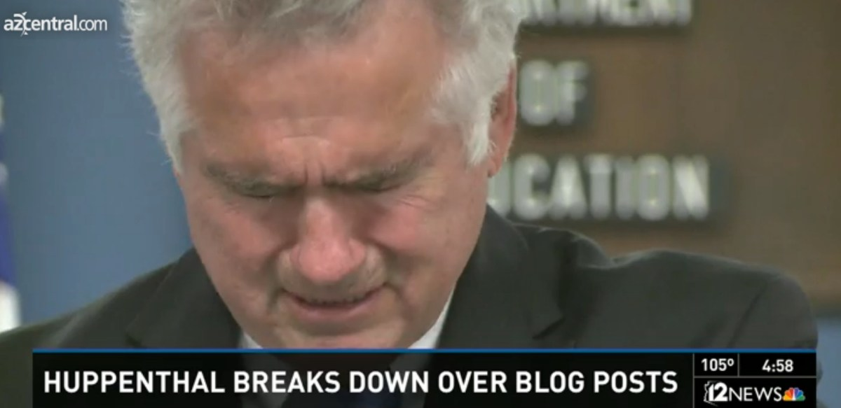Huppenthal Repudiates His Blog Posts, Cries at Press Conference... But He Won't Resign
