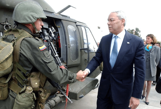 Colin Powell visiting Colombia in support of Plan Colombia (Date2003-2004)