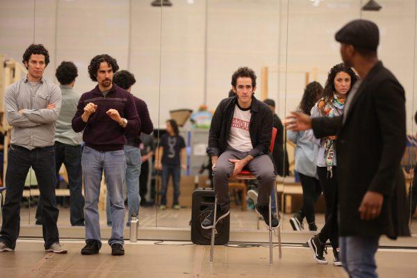 (The HAMILTON creative team during rehearsal/Joan Marcus)