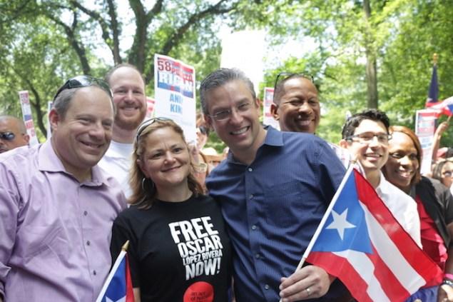NYC Council Speaker Melissa Mark-Viverito  with Gov. Alejandro García Padilla of Puerto Rico today in New York. (CREDIT: Samy Nemir-Olivares)