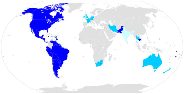 Jus soli around the world: unlimited in dark blue, restricted in teal, and abolished in pale blue (Public Domain)