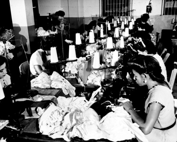 Women making brassieres at the Jem Manufacturing Corp. in Puerto Rico, 1950 (Kheel Center/Flickr)