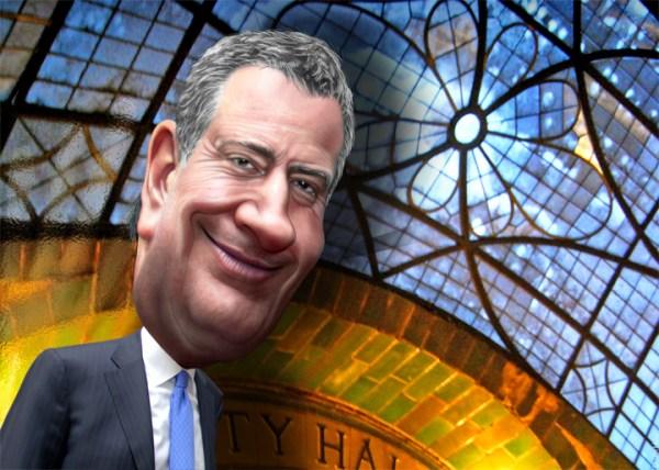 Caricature of New York City Mayor Bill de Blasio (Credit: DonkeyHotey/Flickr0