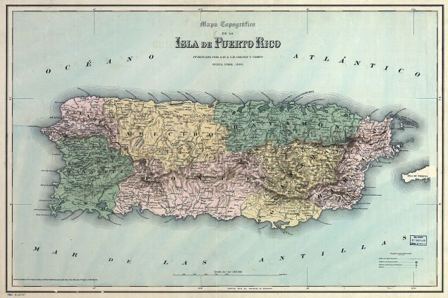 Departments of Puerto Rico under Spanish rule in 1886 (Public Domain)