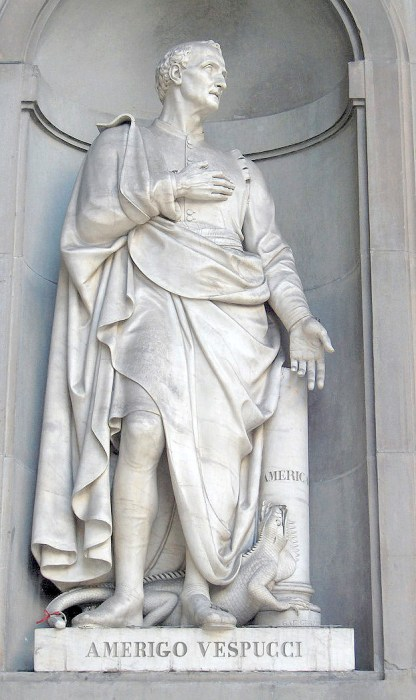 A statue of Italian explorer and cartographer Amerigo Vespucci (Public Domain)