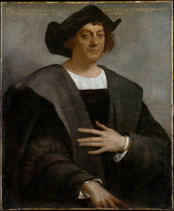 Portrait of a man, said to be Christopher Columbus, by Sebastiano del Piombo (Public Domain)
