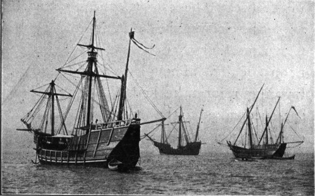Replicas of Niña, Pinta and Santa María sailing from Spain to the Chicago Columbian Exposition, 1893 (Public Domain)