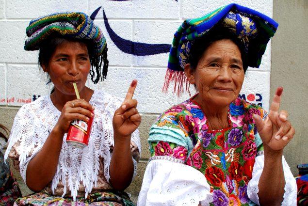 Voters in rural Guatemala