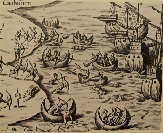 Columbus and his men confronting hostile Taínos on the coast of Jamaica in 1494