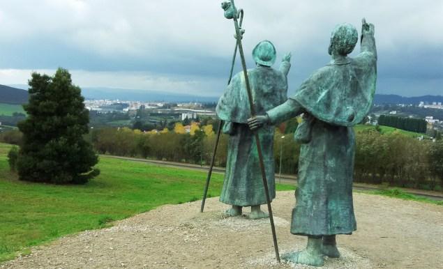 A monument to pilgrims looking toward Santiago de Compostela from Monte de Gozo